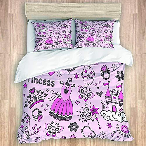 LISNIANY Bettwäsche Set,Märchen Prinzessin Tiara Crown Notebook Sketchy Doodle Design,1 Bettbezug 240x260cm+2 Kopfkissenbezug 50x80cm