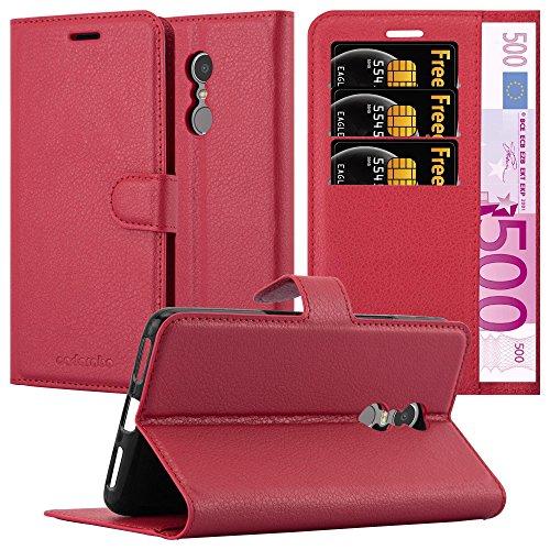 Cadorabo Hülle für Lenovo K6 Note - Hülle in Karmin ROT – Handyhülle mit Kartenfach & Standfunktion - Case Cover Schutzhülle Etui Tasche Book Klapp Style
