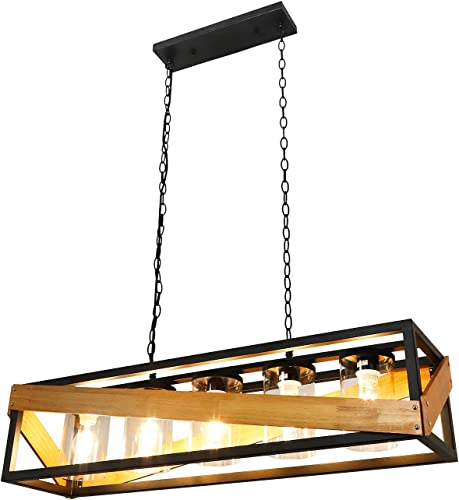 wholesale Depuley 5-Light Farmhouse Vintage sale Kitchen Island Light Fixtures, Industrial Chandelier with Glass sale Shade, Metal and Wooden Cage Pendant Lighting for Dining Room(5×E26 Led Warm Light Bulbs Included) outlet online sale