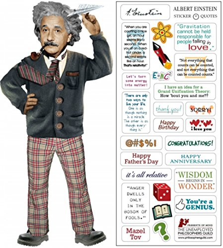 Albert Einstein Quotable Notable – carte de vœux avec autocollant Citations