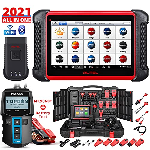 Autel Scanner MaxiCOM MK906BT with Battery Tester BT100, New Model of Maxisys MS906BT/MS908/MS906TS,...