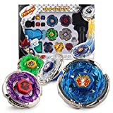 HASAKA Metal Master Fusion Storm Pegasus/Flame Libra/Earth Eagle/Lightning L-Drago con 4D Launcher Grip Gyro Top Set