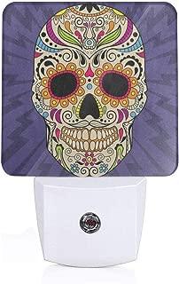 Mexican Dia De Los Muertos Skull Flower Plug-in Night Light Warm White LED Nightlight with Auto Dusk to Dawn Sensor, Perfect for Kids Room, Hallway, Bedroom, Kitchen, Bathroom