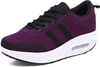 Sneakers Walking Platform Women Wedge Shoes Running Air Cushion Mesh Pumps Thick Bottom 4.5 cm Lace up Footwear Black Pink Purple White US 4-8
