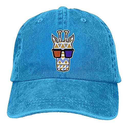 DuyTowel Unisex Tribal Jirafa W 3-D Gafas Papá Sombreros Casqueta Denim Algodón Gorra De Béisbol Sombrero Azul Marino