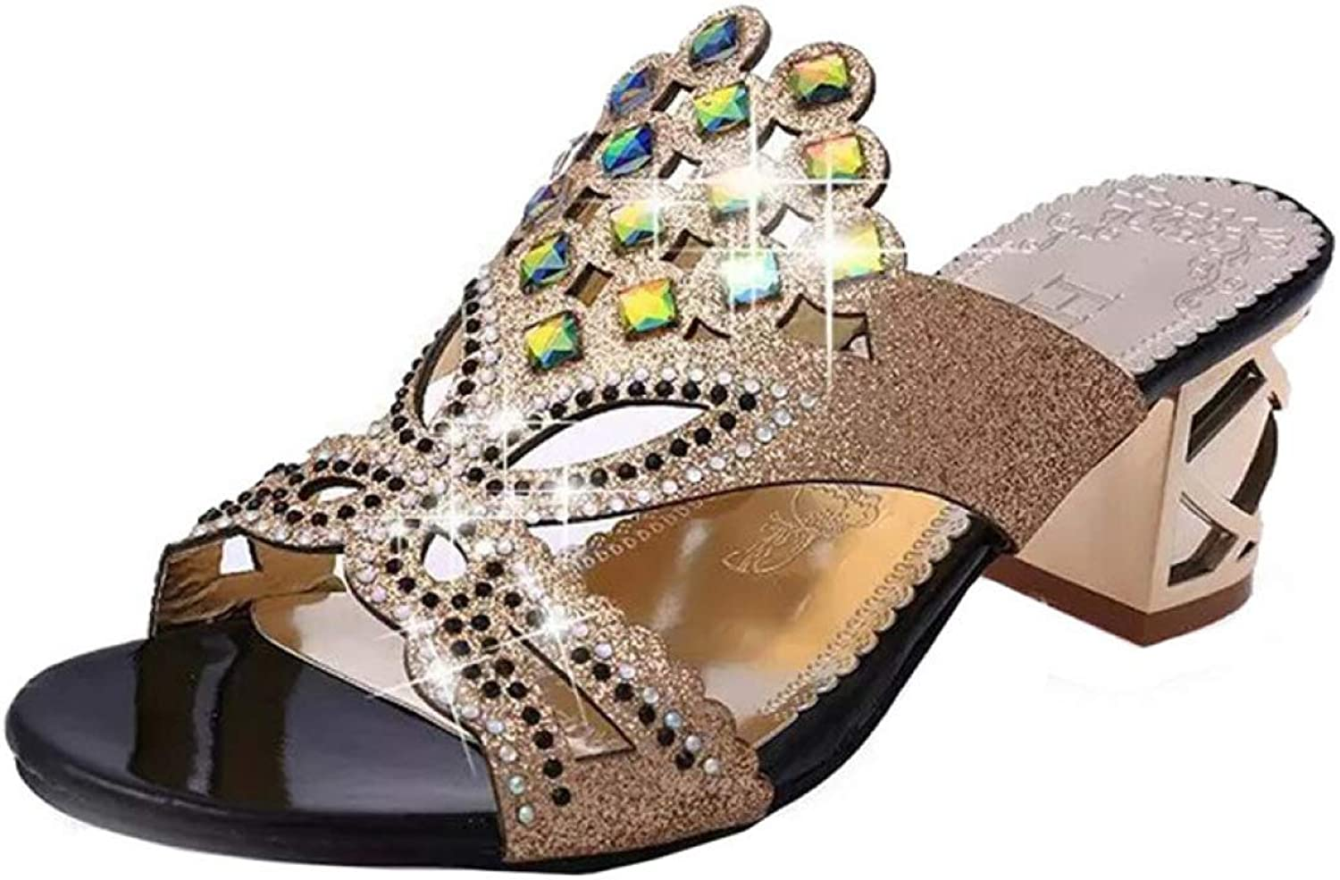 T-JULY Sandals for Women Beach Rhinestone Hallow Out High Heel Summer Fashion Ladies Outdoor shoes