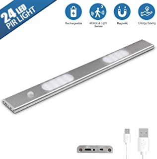 Under-Cabinet Lights, Closet Light 24 LED Light Slim Design, USB Rechargeable Cabinet Lights, Magnetic Under Counter Lighting, LED Motion Sensor Night Light for Closet Cabinet Wardrobe Stairs (1 Pack)