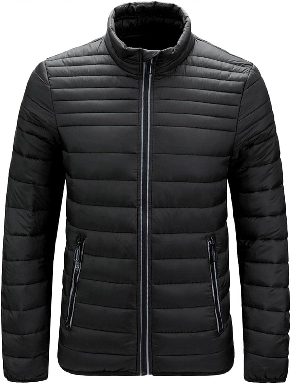 XUNFUN Mens Warm Winter Coats Fashion Lightweight Stand Collar Down Puffer Jackets Overcoat Pluse Size with Zipper Pockets