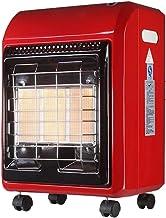 Heater Estufa de Gas Portátil Calentador Radiante sin ventilación,Calentador de cerámica infrarrojo,Interior Al Aire Libre Calentador con Ruedas giratorias,4200W, Rojo
