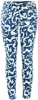 ARRILR.H Ejército Azul Camo Mujer Militar Camuflaje Cintura Baja Denim Pantalones Pitillo Pantalones para Mujer Jeans