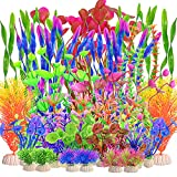 30 plantas de plástico para acuario, plantas artificiales para acuario, plantas acuáticas, decoración de plantas subacuáticas, vivas, seguras para todos los peces (colores mezclados)