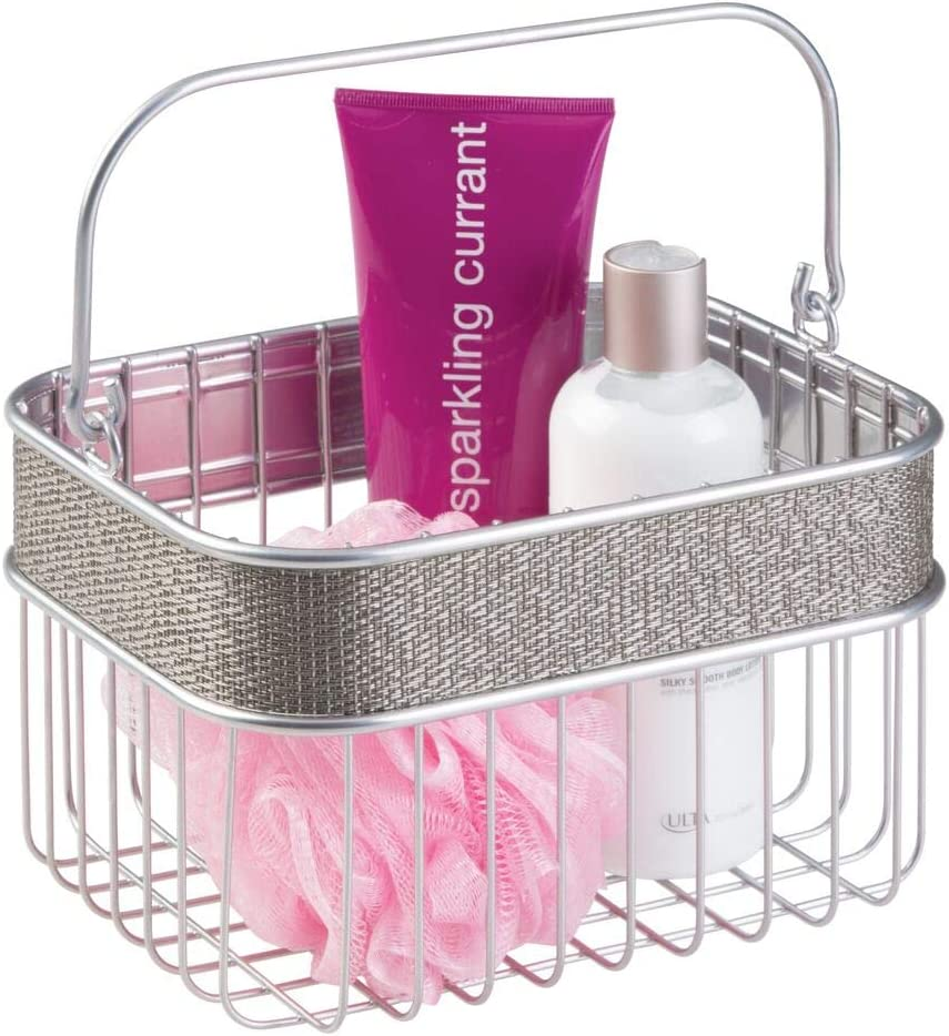 discount mDesign Metal Woven Storage Basket Handle Reservation Bin with for Organizin