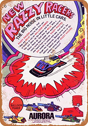 Vintage Decorative Metal Signs 197 Balloon-Powered Razzy Racers Metal Tin Sign Wall Decor 8 X 12 Inches