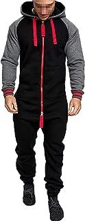 Men Hoodie Onesie Jumpsuit, Long Sleeve Patchwork Overall Zip Up Romper Playsuit