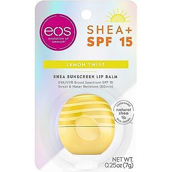 eos Shea + SPF Lip Balm - Lemon Twist | SPF 15 and Water Resistant | Lip Care to Nourish Dry Lips | Gluten Free | 0.25 oz