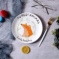 ShiSyan プレート クリエイティブ北欧のステーキプレート漫画かわいい朝食プレートフルーツケーキデザートパスタプレートかわいいハリネズミ8インチ 電子レンジ・食洗機対応