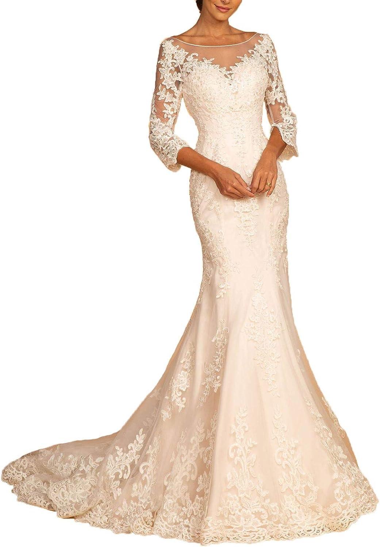 Aishanglina Women's Illusion Sweetheart Backless Sheath Beaded Lace Bridal Prom Gown Wedding Dress