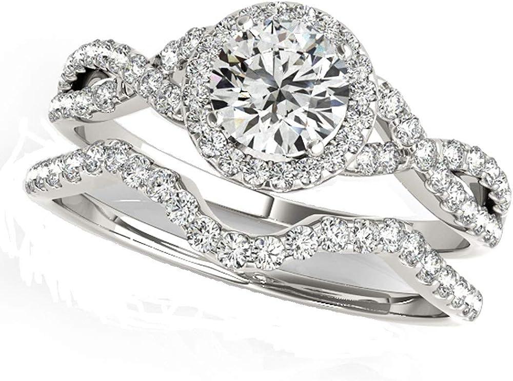 JewelMore 1/2 Carat Halo Diamond Engagement Bridal Ring Set 14K Solid White Gold (I-J/I2-I3)