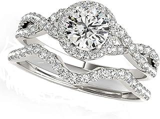 JewelMore 1/2 Carat Halo Daimond Engagement Bridal Ring Set 14K Solid White Gold (I-J/I2-I3)