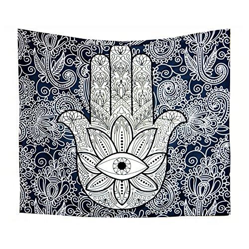 Lumanuby - 1 tapiz de mano de Fátima, color azul oscuro, de poliéster, para la buena suerte, para decoración del hogar o yoga meditación, tamaño 150 x 130 cm