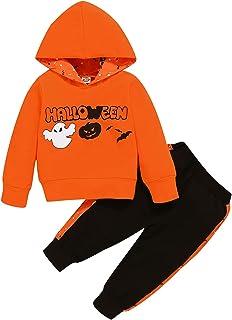 DELIMALI Baby Boys Halloween Tracksuit, Letters Hooded Sweatshirt + Splicing Pants