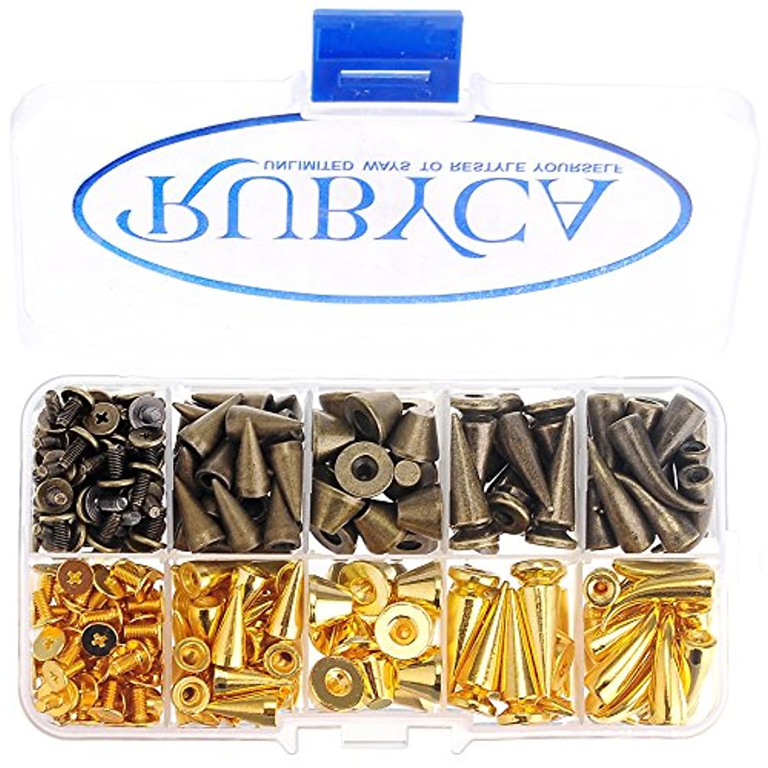 RUBYCA 110 Sets Large Metal Screwback Studs and Spikes Bronze Gold Container Box Leathercraft Kit