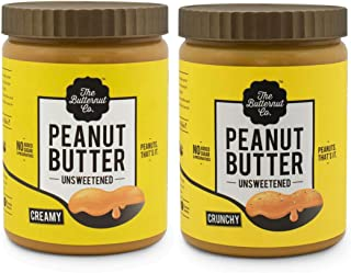The Butternut Co. 1 Kg Crunchy & 1 Kg Creamy Unsweetened Peanut Butter - 2 Kg Combo Value Pack