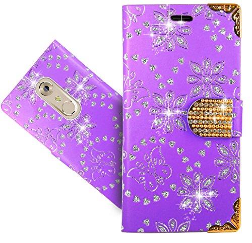 FoneExpert® ZTE Axon 7 Handy Tasche, Bling Luxus Diamant Wallet Hülle Flip Cover Hüllen Etui Hülle Ledertasche Lederhülle Schutzhülle Für ZTE Axon 7
