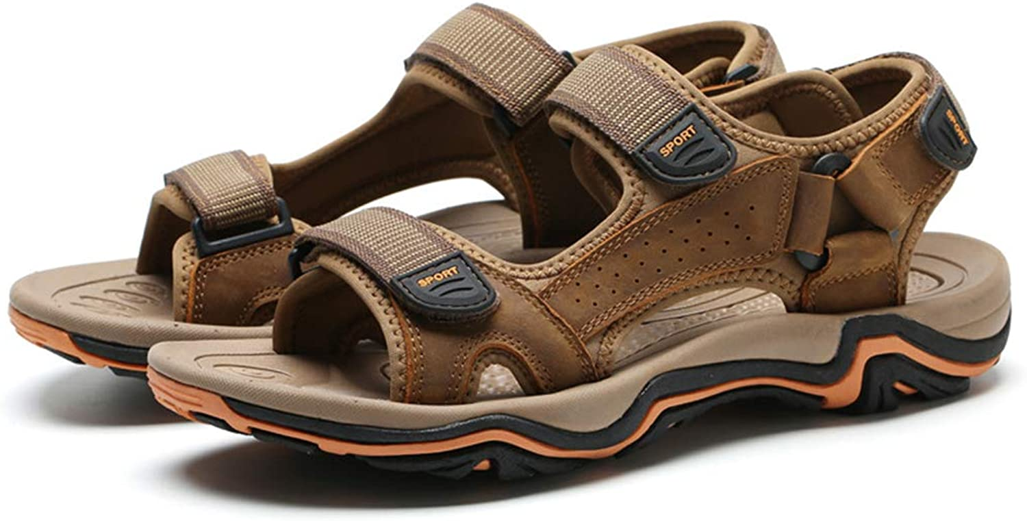Mens Walking Sandals Leather Open toe Outdoor Sports Beach Sandal for Hiking Trekking Traveling, Ankle Strap