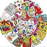 Performance Art KEITH HARING Sticker Pack of 50 Stickers - The Office Stickers for Laptops, The Office Stickers for Laptops, The Office Laptop Stickers, Funny Stickers for Laptops, Computers, Hydro Fl