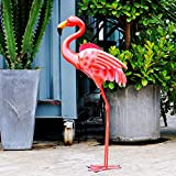 Gartenfigur Flamingo Pink Flamingo stehend Art Yard Decor Durable Metall Vogel Skulptur für Outdoor Rasen Terrasse Gehweg Hinterhof Ornamente 78,7 cm H
