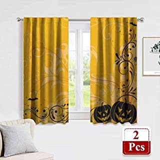 Halloween Boy's Iving Room Curtain Carved Pumpkins with Floral Patterns Bats and Web Horror Jack o Lantern Artwork 2 Panels Bedroom Kitchen Curtains 42 x 63 Inch