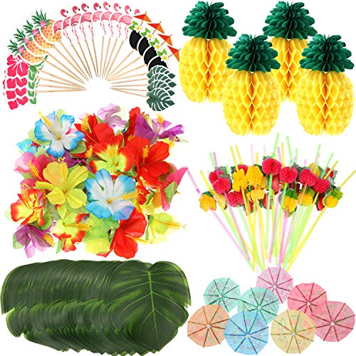 188 Pieces Hawaiian Luau Party Decorations,Include 30 Pieces Tropical Palm Leaves, 30 Pieces Hibiscus Flowers, 4 Pieces Paper Pineapples, 24 Pieces Cupcake Toppers, 50 Pieces 3D Fruit Straws, 50 Pieces Paper Umbrella