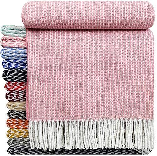 STTS International Baumwolldecke sehr weiches Plaid Wohndecke Kuscheldecke Baumwolle Marbella (140 x 200 cm, Rosa)