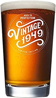 1949 70th Birthday Gifts for Men and Women Beer Glass | 70 Year Old | Best Gift Ideas Him Her Husband Wife Mom Dad | 16 oz Pint Craft Beer Glasses | Vintage Party Supplies Decorations Presents IPA