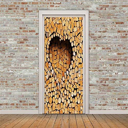 BLOUR Pegatinas Impresas artísticas de escaleras Retro para la Puerta, Carteles de Puerta con Paisaje Natural Fresco, decoración del hogar, renovación, calcomanía autoadhesiva para habitación