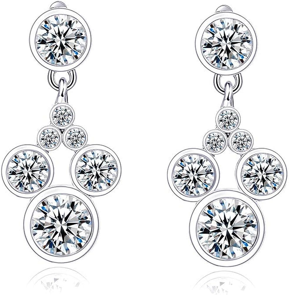Deelan Mickey Jewelry Stud Earrings For Women Mouse Drop Dangle Charm Rose Gold Platinum Plated Zircon Earring