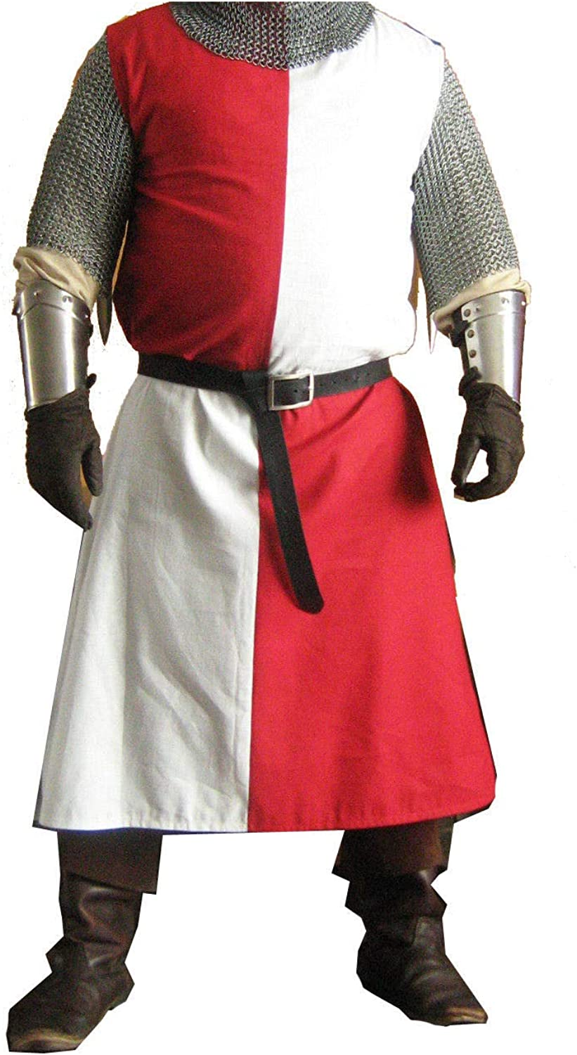 QUALITYMUSICSHOP Medieval Knight Crusader Tunic White&Black colors Without Sleeveles Reenactment