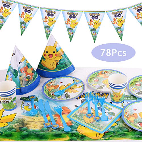 Colmanda Pokemon Kindergeburtstag, 78 Stück Pikachu Kindergeburtstag Party Dekoration Pokemon Thema Cartoon Party Set per Kinder Geburtstag Urlaub Party Requisiten Partyzubehör