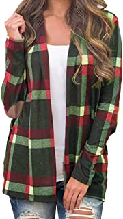 YOcheerful Fashion Coat Women Plaid Long Sleeve Pullover Blouse Autumn Winter Open Front Jacket Outerwear