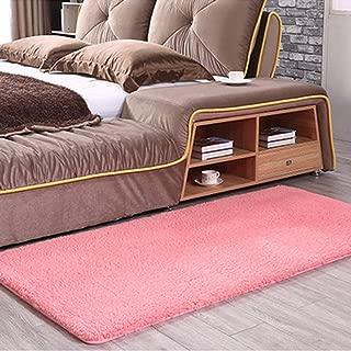 MOXIC Solid Rectangular Area Rugs Soft Shag Living Room Children Bedroom Rug Anti-Slip Plush Carpets Home Decor Modern Indoor Outdoor Runners Nursery Pink 3.2' X 6.5'