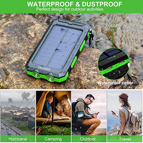 Solar Charger,YELOMIN 20000mAh Portable Waterproof Solar Power Bank for Cellphones,External Backup Pack Battery Dual USB Outputs/LED Flashlights,Compatible with Tablets and Other Devices(Light Green)