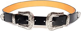 Women's Fashion 25mm Retro Carved Double Buckle Western Thin Leather Belt