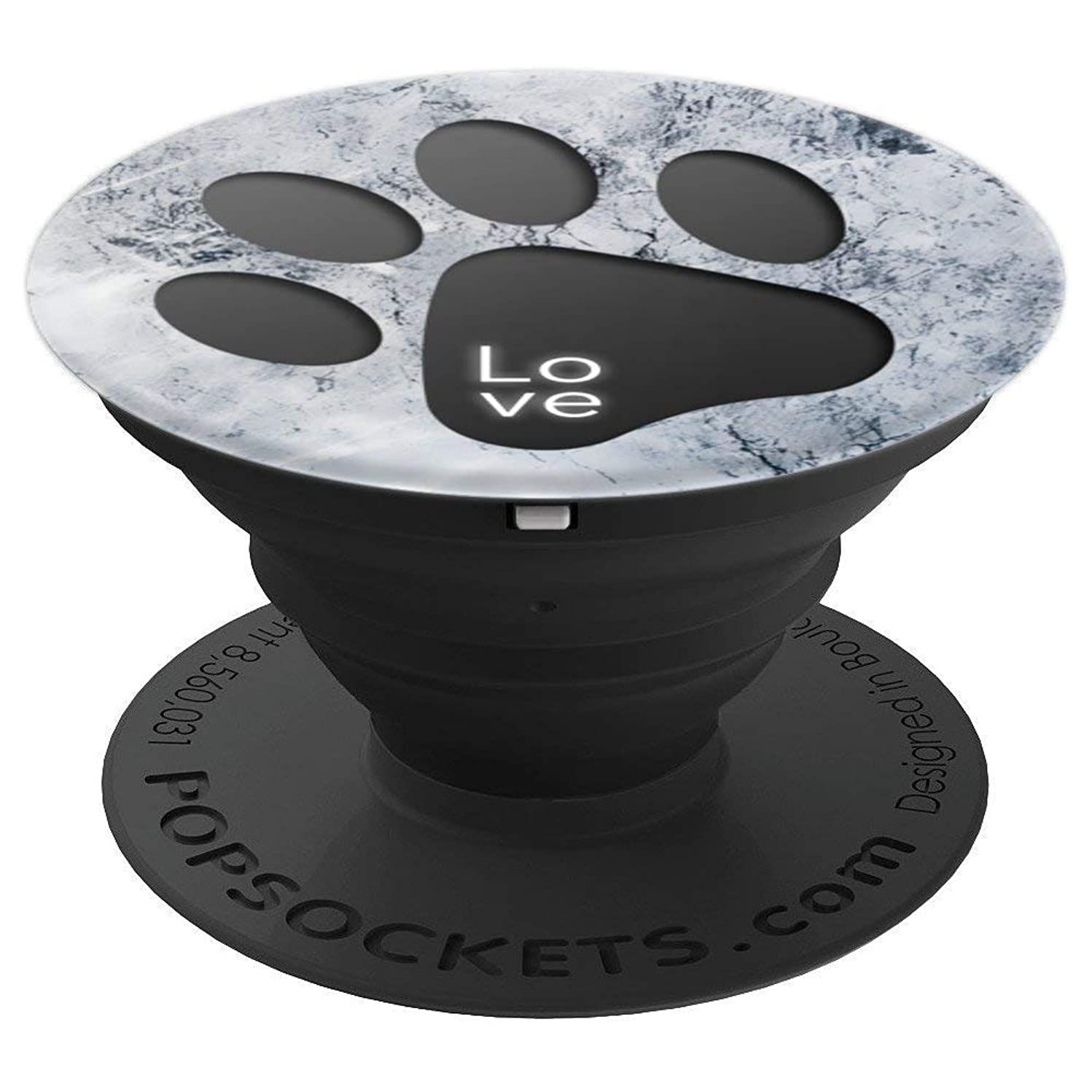 Dog Cat paw print marble Cute blue white puppy design gift - PopSockets Grip and Stand for Phones and Tablets