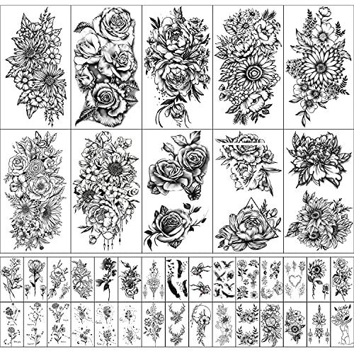 Tatuaje Temporal a Prueba de Agua Para Mujeres y Niñas 10 Hojas Extra Grandes y 30 Hojas Pequeños Kits de Pegatinas de Tatuajes Falsos para Decoración de Fiestas
