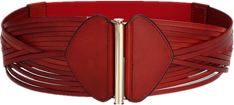 Canvas Belt Women's Belt Waist Width Korean Version Leather Red Leather Belt Vintage Accessories Belt (color   Red)