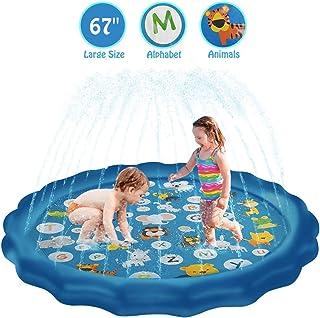 "JOLLIBARREL Kids Sprinklers Splash Pad, 67"" Large Splash Pad for Yard Water Fun Party Summer Toys for Boys Girls Toddlers Children Sprinkler Splash Play Mat Outdoor Outside"