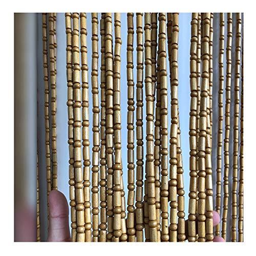 WENZHE 45 Hilos Cortinas de Cuentas de Madera para Puertas Cortina de Hilos con Cuentas Divisor de Pantalla de Color Crema Casa Entrada Adornos Colgantes, Talla Personalizable