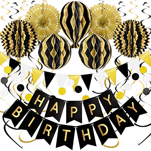 Whaline Black and Gold Party Decorations Happy Birthday Kit with Latex Balloons Paper Pompoms Paper Fans Happy Birthday Banner String Pennant Polka Dot String Hanging Swirls for Birthday Party 20Pcs