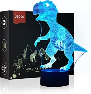 LED Night Light 3D Illusion Bedside Table Lamp 16 Colors Changing Sleeping Lighting with Smart Touch Button Cute Gift Warming Present Creative Decoration Ideal Art and Crafts (Dinosaur)